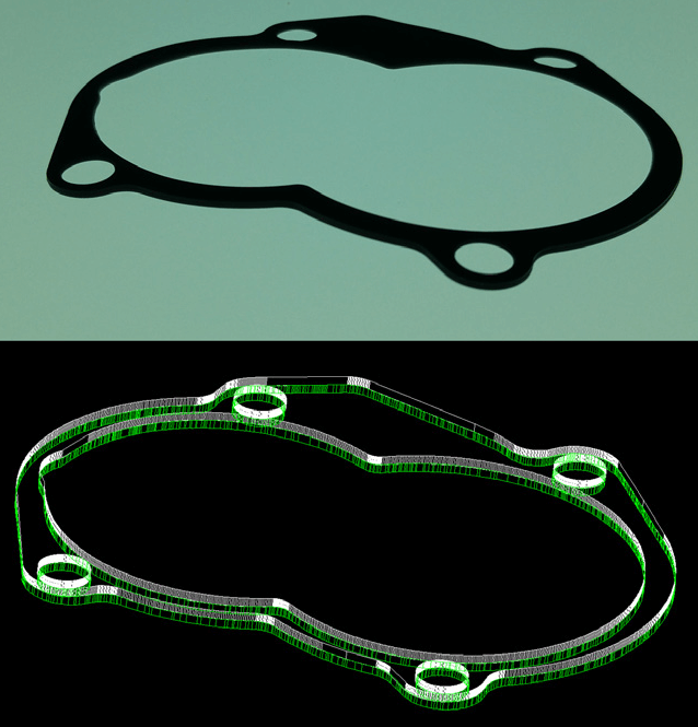 An image of a gasket part converted into up to 80 Million Measurements using Planar2D